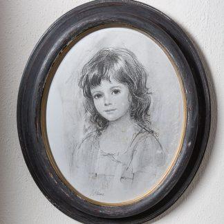 ovale houten lijst met kinderportret